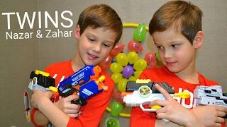 Nerf twin toys Target from balloons. НЕРФ игрушка близнецов | стреляем в мишень из воздушных шариков