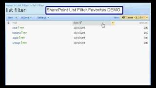 SharePoint List Filter Favorites