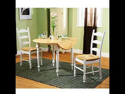 Simple Living White Wood And Rush 3 Piece Ladderback