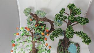 Масштабные Деревья из бисера (обзор моих работ) Beaded trees handmade