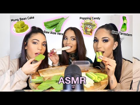 ASMR: SISTERS TRY RAW ALOE VERA, TAROSTEM, & MUNG BEAN CAKE