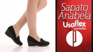 Sapato Anabela Feminino Usaflex by Perfetto - Preto - 6030404912