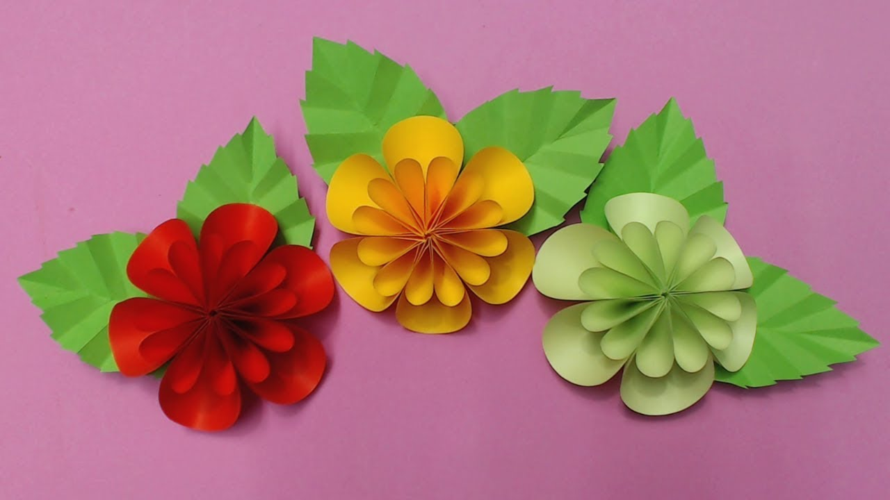 How To Make Flower With Color Paper Diy Paper Flowers Making Youtube