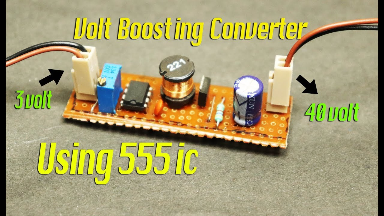 3 Volt To 40 Boost Converter By Using 555 Ic Youtube Simple Low Battery Indicator Circuit Electronic