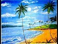 How to paint sea beach with poster colour