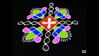 latest sikku kolam designs 9X1 dots || Melika muggulu || easy and simple rangoli