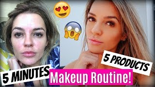 5 PRODUCTS IN 5 MINUTES MAKEUP ROUTINE + SKINCARE/TREATMENTS