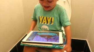 2016 Apr Jake toilet training playing games and laughing 😂