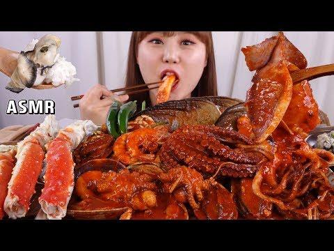 ASMR Mukbang|굴밥과 킹크랩 다리, 전복, 문어, 오징어를 넣은 매콤한 해물찜까지 먹어보아용~