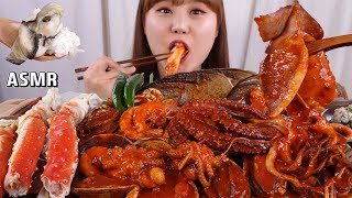 ASMR Mukbang|Oyster rice and Korean braised spicy seafood of abalone, octopus, fish eggs, crabs
