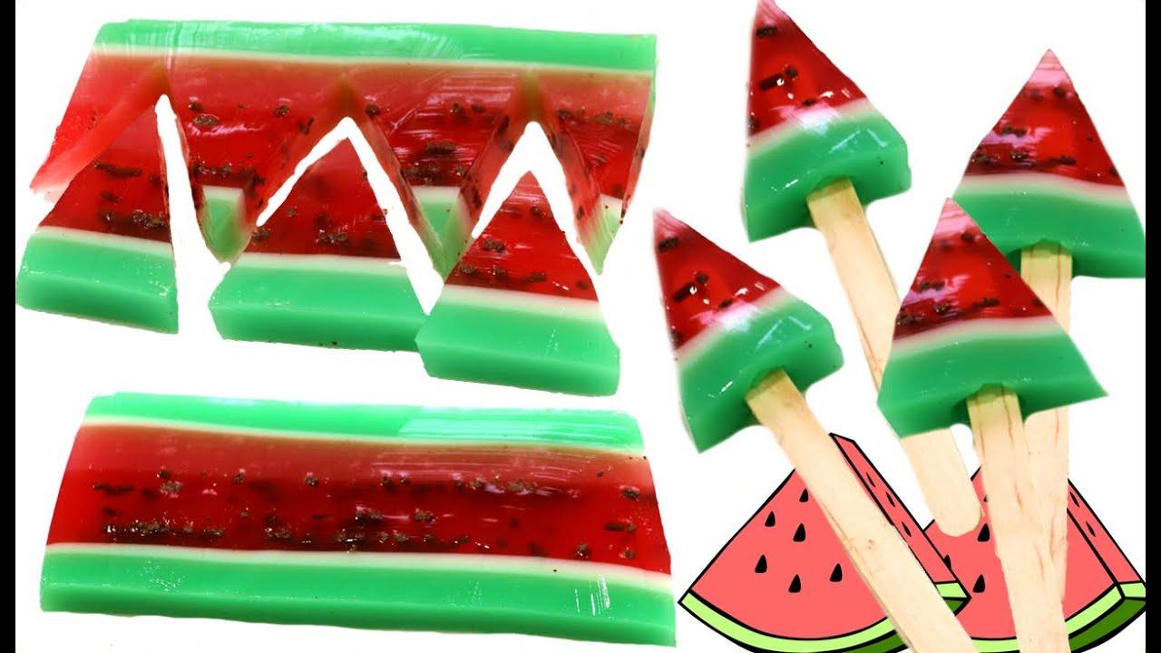 C243mo hacer piruletas de gelatina de sandia Postres de
