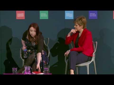 Nicola Sturgeon Elif Shafak and Heather McDaid. Edinburgh Festival 2017.