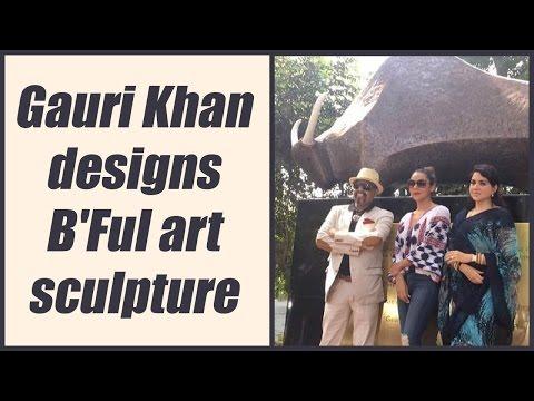 Shahrukh Khan's wife Gauri Khan designs art sculpture on Maharashtra day; Watch Video | FilmiBeat