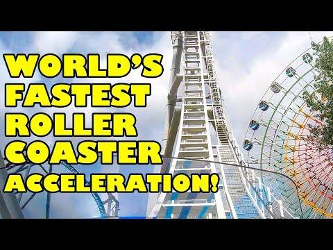 World's Fastest Roller Coaster Acceleration!  Do-Dodonpa! W/ Loop!  POV Fuji Q Highland Japan ド・ドドンパ