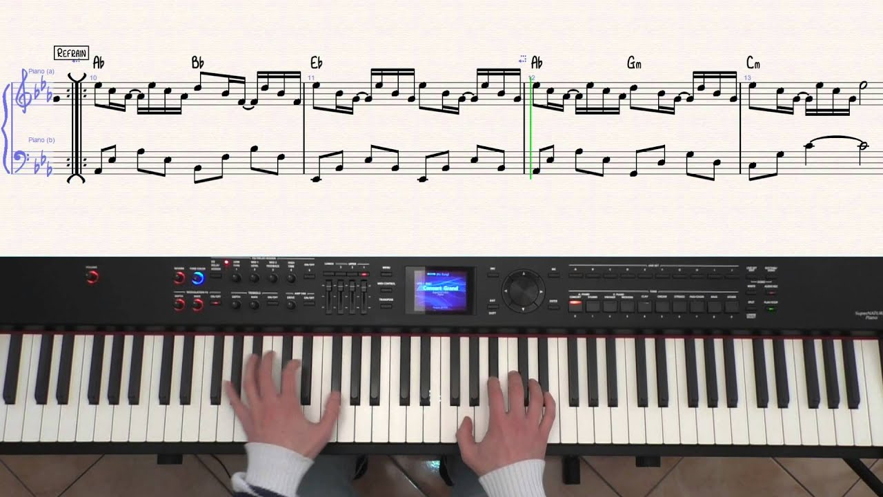 Louane maman piano cover tutorial partition youtube for Louane chambre 12