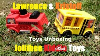 Jollibee Kiddie Meal Toys Unboxing - Fire Truck and School Bus Toy Car