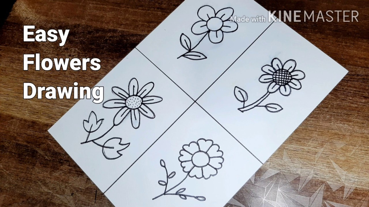 How To Draw Flowers Simple And Easy Flower Drawing For Kids Youtube