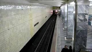 Train traffic of Sokolniki station, Moscow metro.