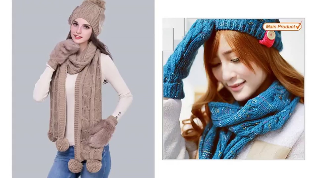 Womens Winter Hat Scarf And Glove Sets Youtube