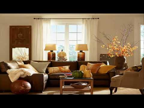 Living Room Decor With Dark Brown Leather Sofa