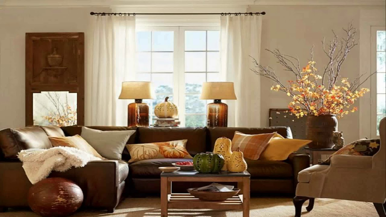Living Room Decor With Dark Brown Leather Sofa Youtube