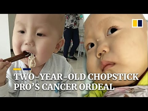 """He can't help but be scared"": two-year-old chopstick pro's cancer ordeal"
