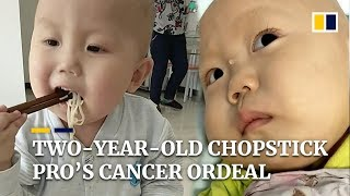 """""""He can't help but be scared"""": two-year-old chopstick pro's cancer ordeal"""