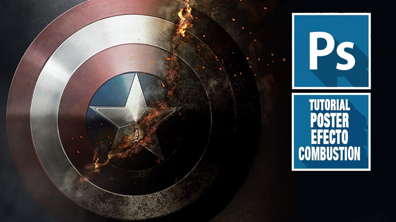 Tutorial Photoshop Efecto Combustion Escudo Capitan America By