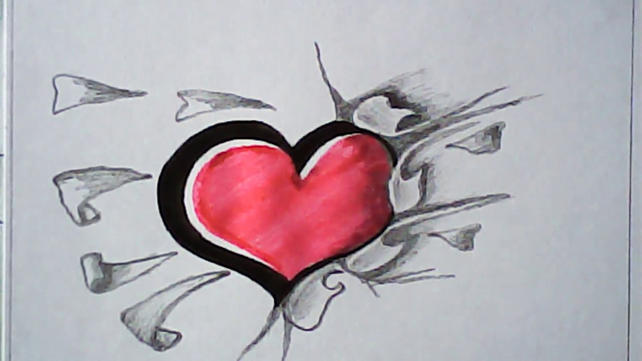 How to draw 3d love shape easy design and art mazic writer
