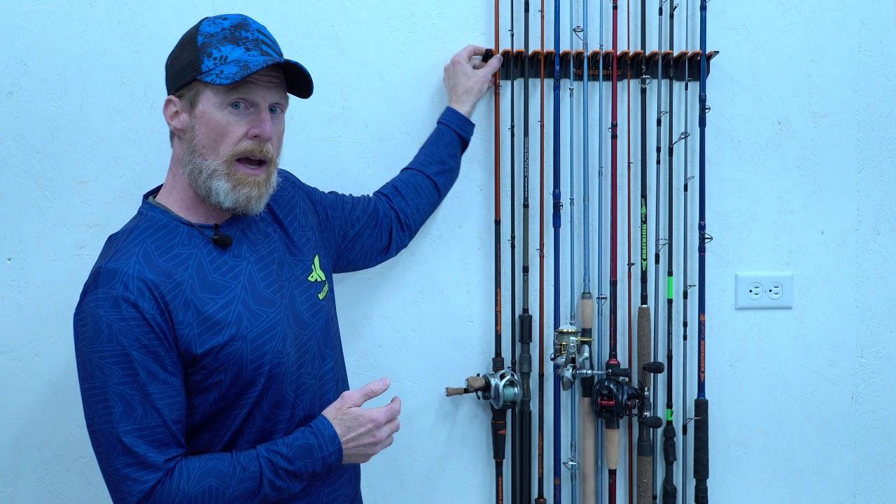 Vertical Fishing Rod Holder Wall Mounted Rack Fishing Pole Storage 15 Rods Fish