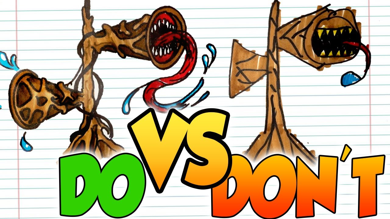 DOs & DON'Ts Drawing 6 Trevor Henderson's creation (Big Charlie, Siren ...) In 1 Minute CHALLENGE!