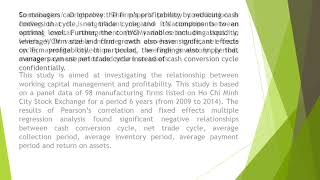Impact of Working Capital Management on Firm Profitability The Case of Listed Manufacturing Firms on