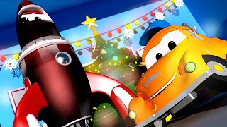 Kids Car Wash -  Rocky the ROCKET Wanted to Spot SANTA Claus - Cars videos for kids