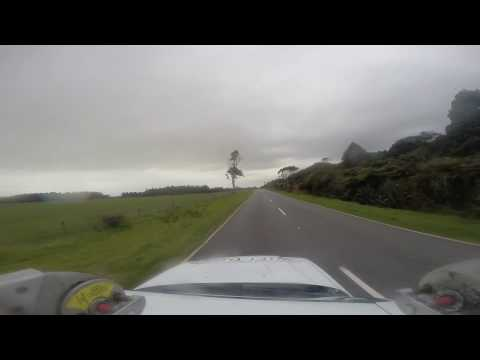Driving between  Greymouth and Charleston West Coast New Zealand