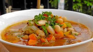 Greek white Bean Soup - Fasolada Recipe - Vegan Vegetarian