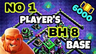 BEST BUILDER HALL 8 BASE LAYOUT WITH REPLAY | TOP BH8 TROPHY BASE DESIGN IN COC | CLASH OF CLANS