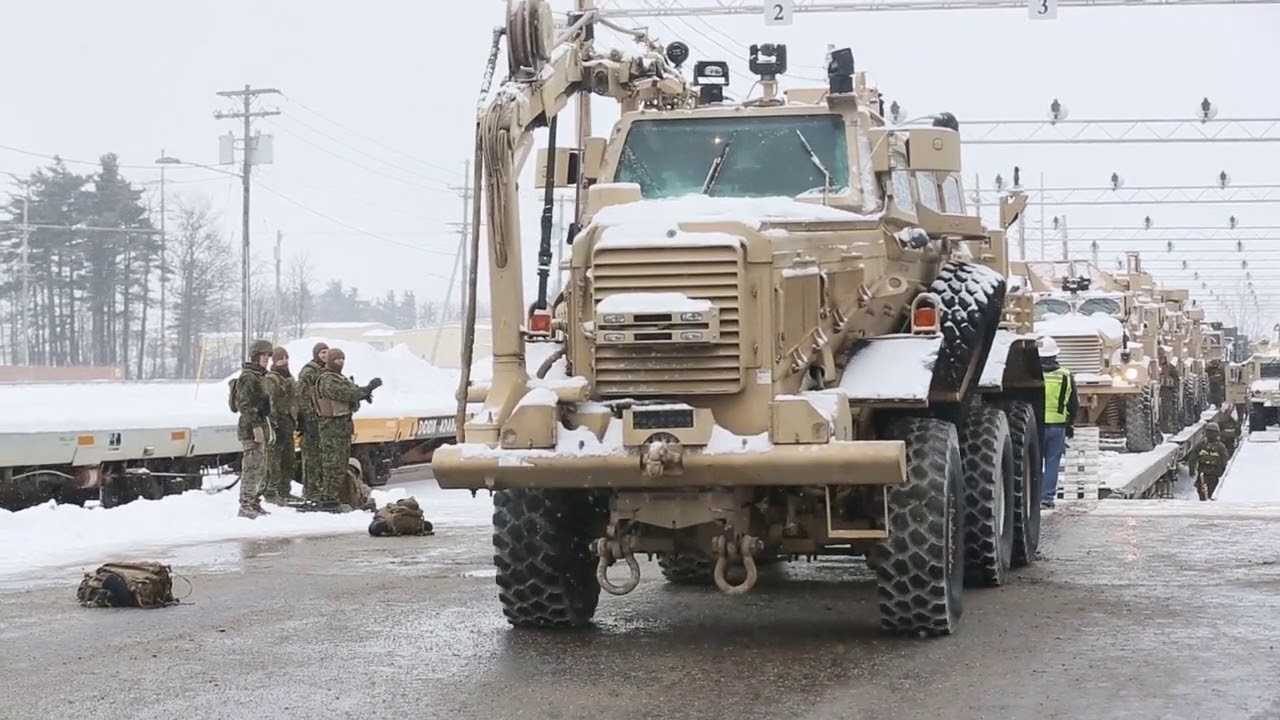 Prepare for a rail offload during cold weather training at Fort Drum, N Y