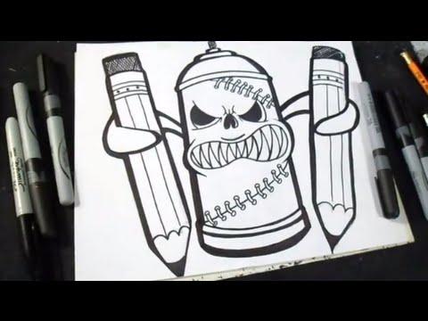 Wie zu zeichnen spr hdose graffiti youtube for Immagini di murales e graffiti
