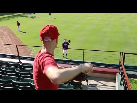Playing catch with Tim Lincecum at Globe Life Park