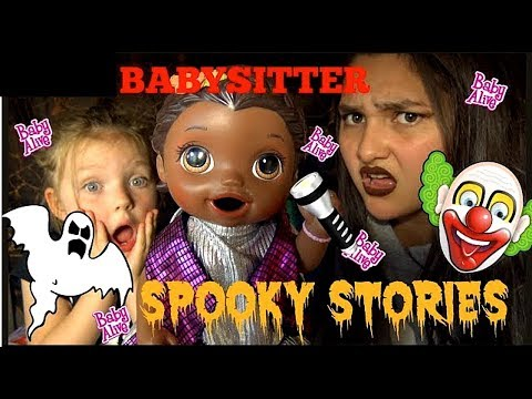 BABY ALIVE tells SPOOKY STORIES w/ BABY SITTER. HALLOWEEN SKIT. Lilly and Mommy show! TOYTASTIC