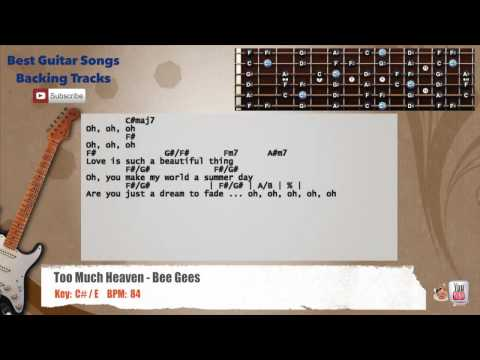 Too Much Heaven - Bee Gees Guitar Backing Track with scale, chords and lyrics