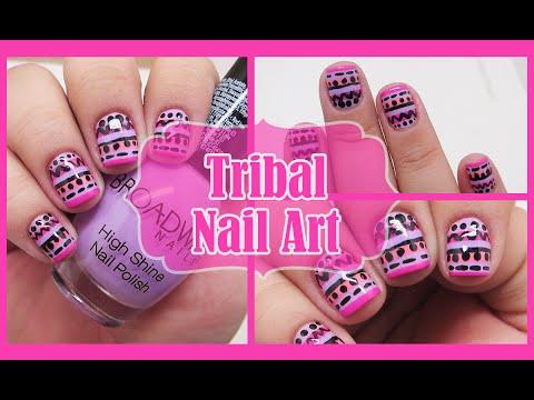 DIY Tribal Nail Art // Pink & Purple Nails