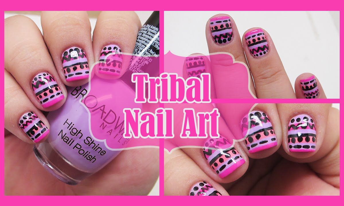 DIY Tribal Nail Art // Pink & Purple Nails - YouTube