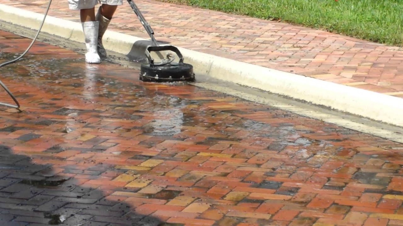 How to Pressure Wash Brick Pavers Surfaces with Scrubber Head ...