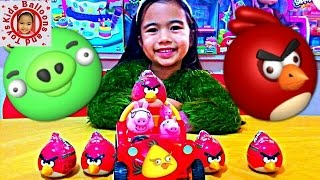 Peppa Pig Videos Holiday Beach Buggy Chunky Car Angry Birds Surprise EggsKids Balloons and Toys