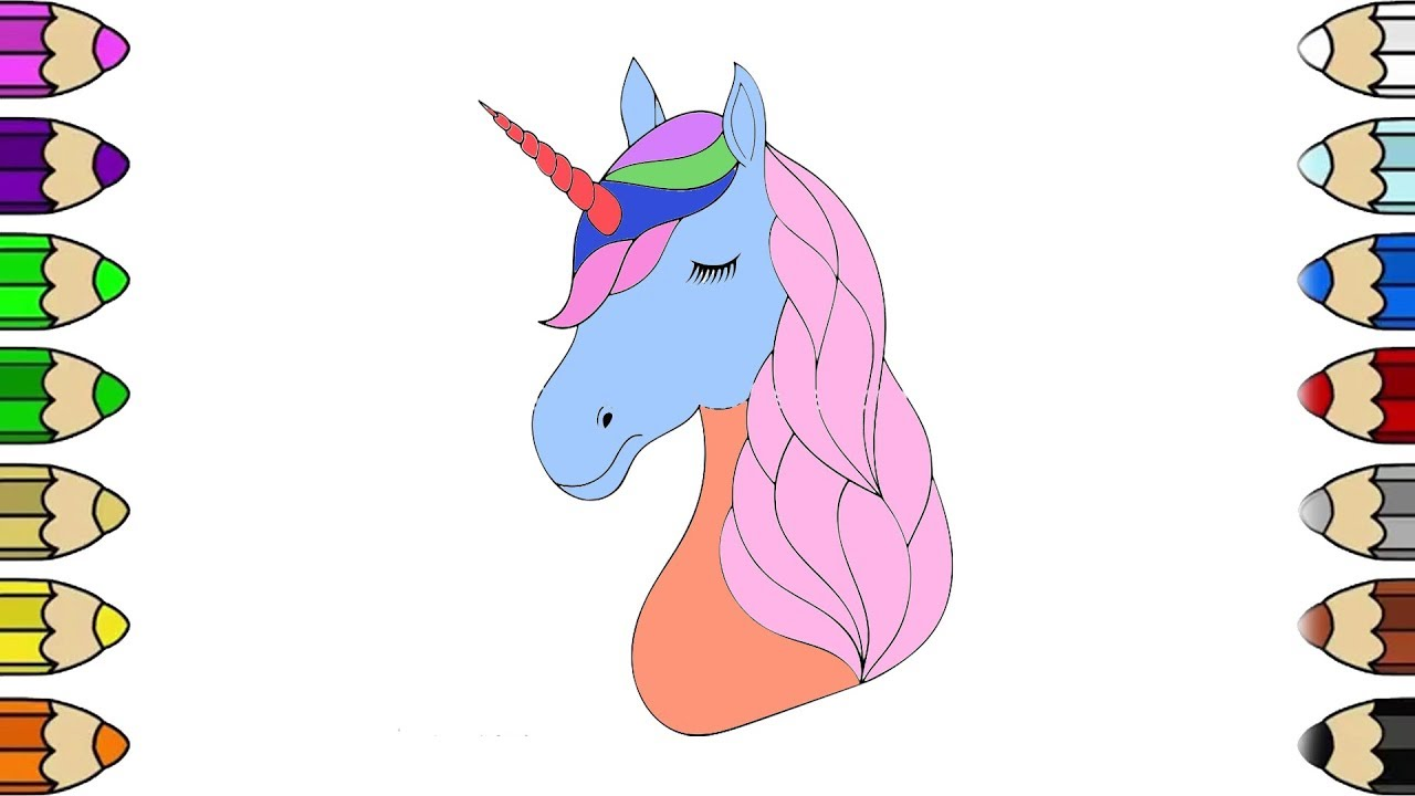 Unicorn head coloring pages how to draw unicorn coloring pages for kids learn colors for children