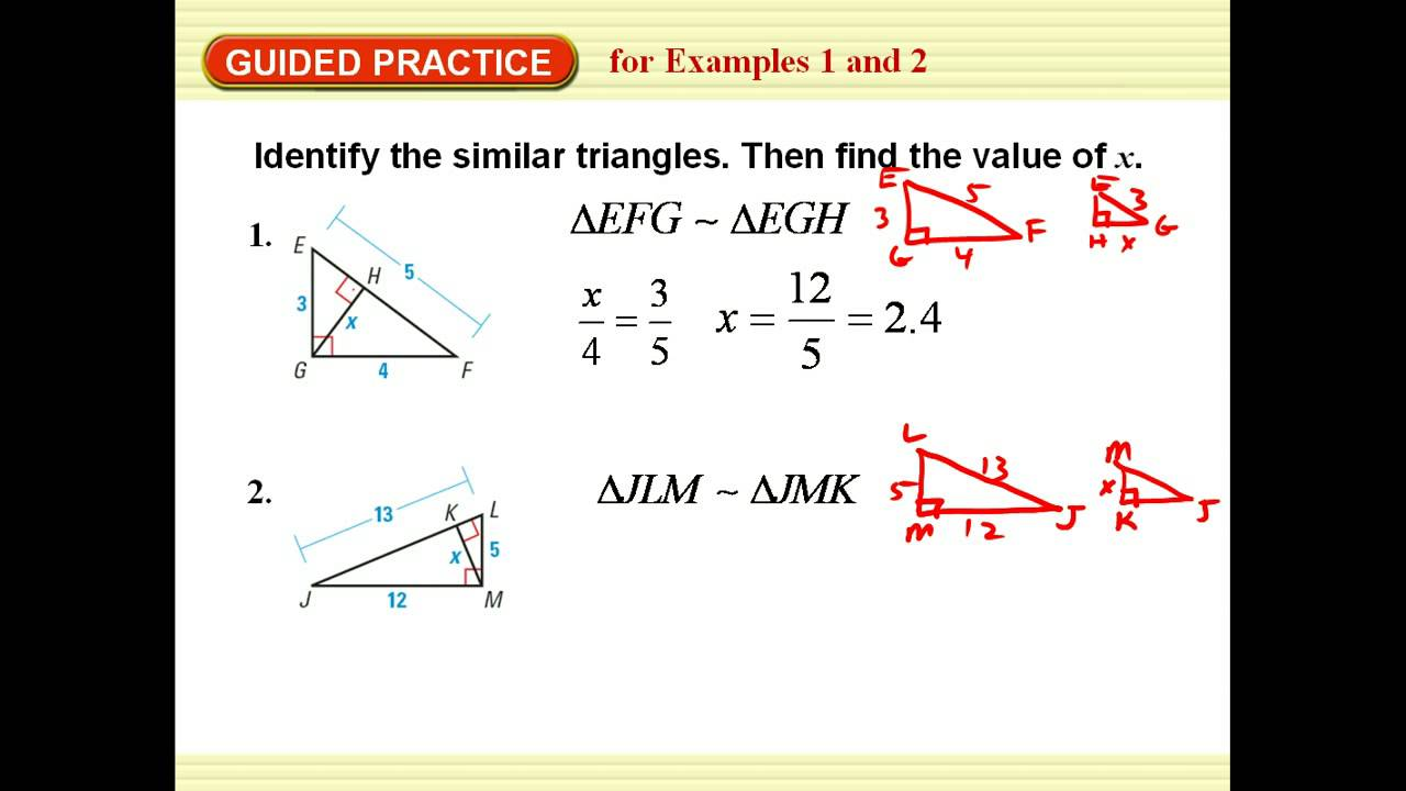 right triangle similarity worksheet