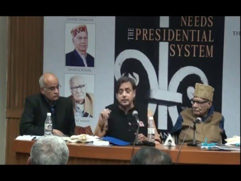 Shashi Tharoor at launch of `Why India Needs the Presidential System`  by Bhanu Dhamija