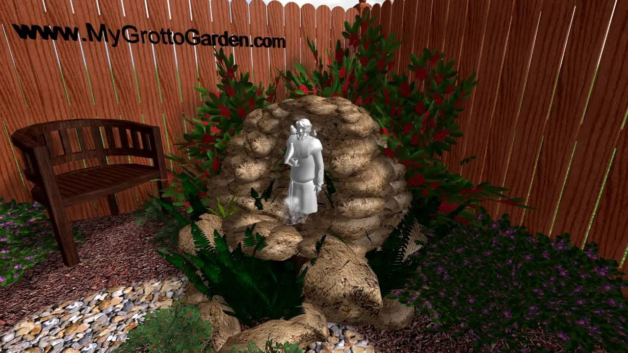 3d garden grotto design brown rock grey statue fountain for Garden grotto designs