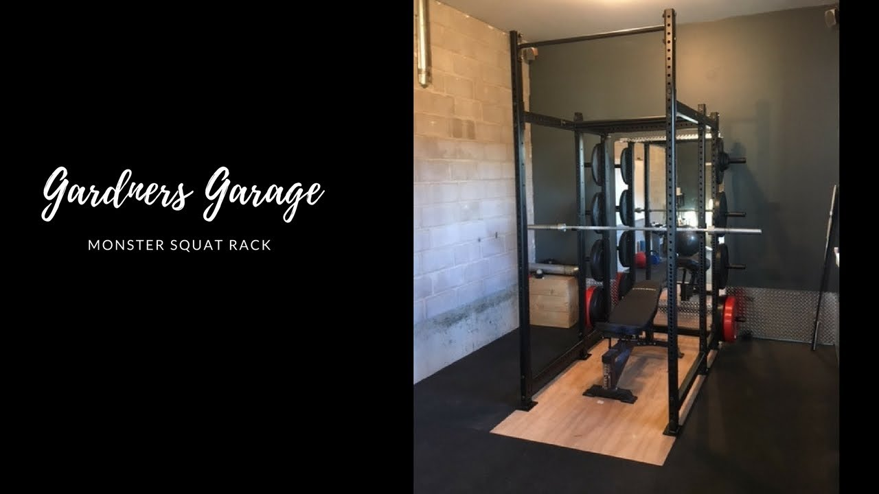 Monster home gym squat rack custom built with weight storage